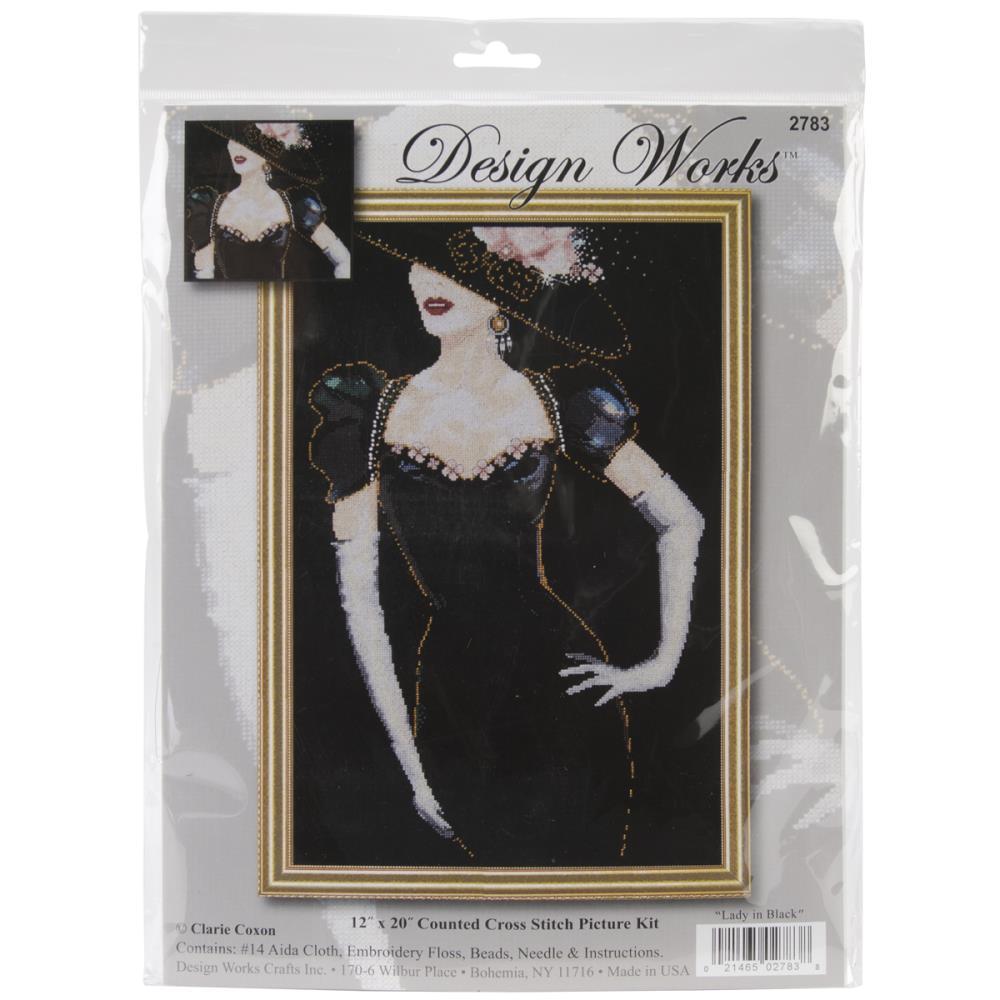 Lady in Black  Cross Stitch Kit