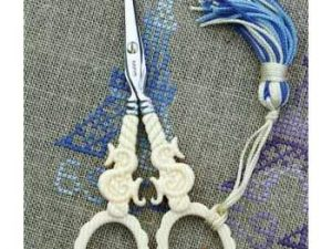 "Veined ivory style embroidery scissors - ""S"" for Sajou motif"