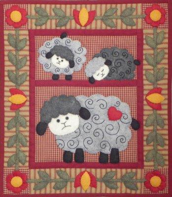 Twin Lambs Wall Hanging  Kit by Rachel T Pelman