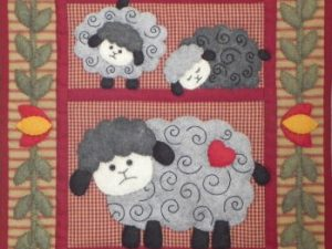 Twin Lambs Wall Hanging  Kit by Rachel T Pelman