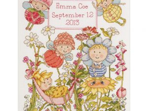 Bucilla Garden Fairies Birth Record Cross Stitch Kit