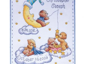 Bears in Clouds Birth Record  Tobin Cross Stitch Kit