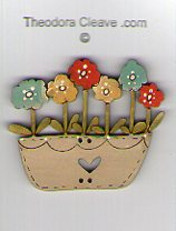 Flowers Bright in Off White Pot Button by Theodora Cleave