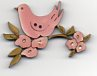 Pink Blossom Bird  Button by Theodora Cleave