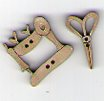 French Scissors & Sewing Machine - Taupe Button by Theodora Cleave