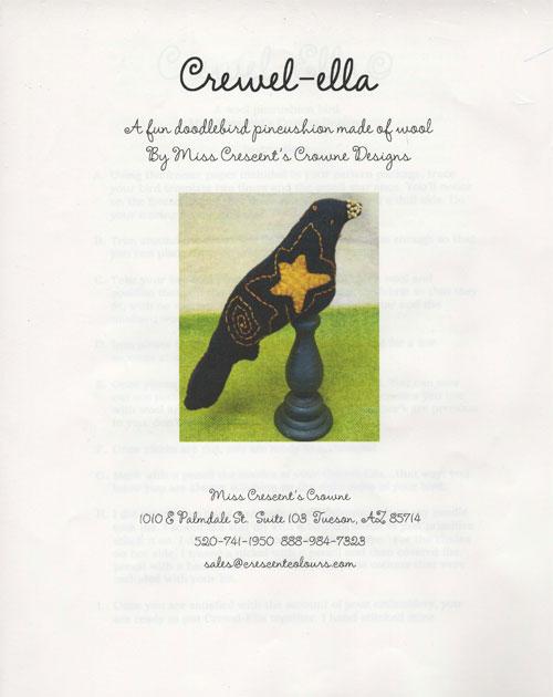 Crewel-ella - Doodlebird Pin Cushion Pattern