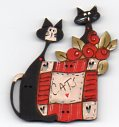 Cats & Red and White Quilt Button by Theodora Cleave