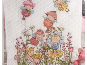 Garden Fairies Crib Cover Stamped Cross Stitch Kit by Bucilla BU45927