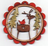 Deer Friend, Red Birdy & Two Trees in Red Scalloped Frame 78mm by Theodora Cleave