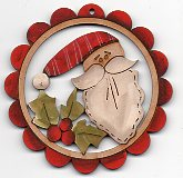 Happiest Santa Red Scalloped Frame 78mm by Theodora Cleave