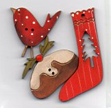 Pudding, Stocking & Red Birdy Button by Theodora Cleave