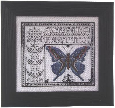 """Blue Watercolor Butterfly"" Cross Stitch Pattern from Rosewood Manor"