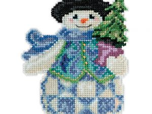 "Jim Shore ""Evergreen Snowman"" Mill Hill Cross Stitch Kit JS20-5101"