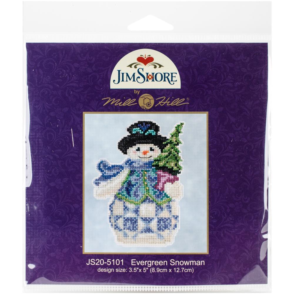 """Jim Shore """"Evergreen Snowman"""" Mill Hill Cross Stitch Kit JS20-5101"""