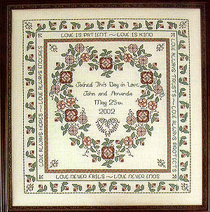 """Baltimore Rose Wedding Sampler"" Cross Stitch Pattern from Rosewood Manor Q-1117"
