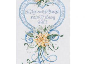 Cherish Wedding Heart Cross Stitch Kit by Janlynn 56-0200