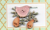 Pink Bird  & Two Pears Button by Theodora Cleave