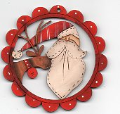 Santa and Deer Chap in Scalloped Frame by Theodora Cleave
