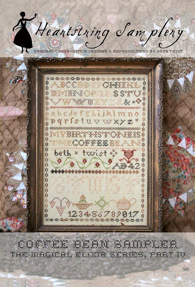 Coffee Bean Sampler Cross Stitch pattern by Heartstring Samplery Magical Elixir Series 4