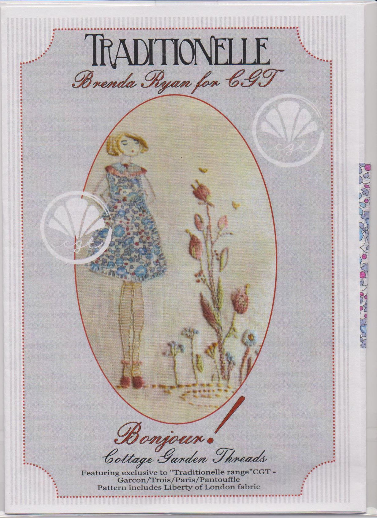 Bonjour! Embroidery pattern by Brenda Ryan for Cottage Garden Threads