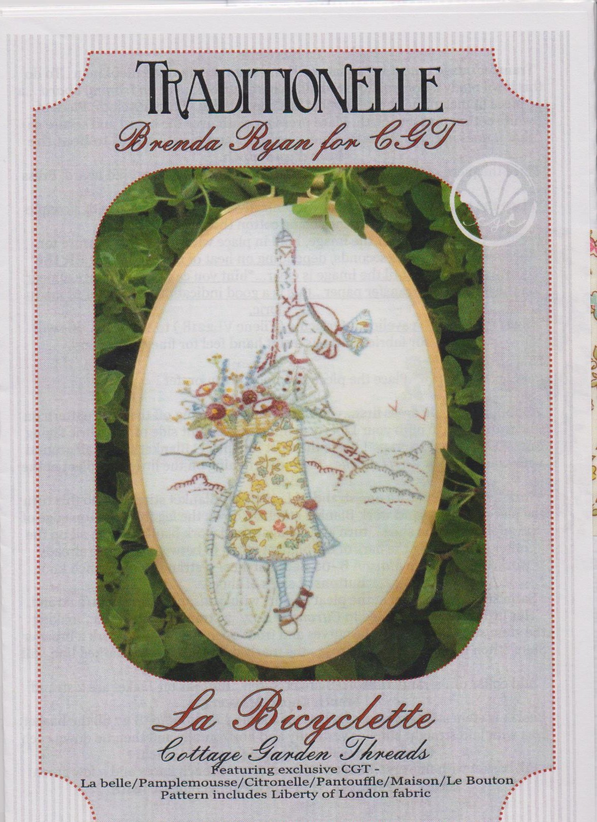 La Bicyclette Embroidery pattern by Brenda Ryan for Cottage Garden Threads