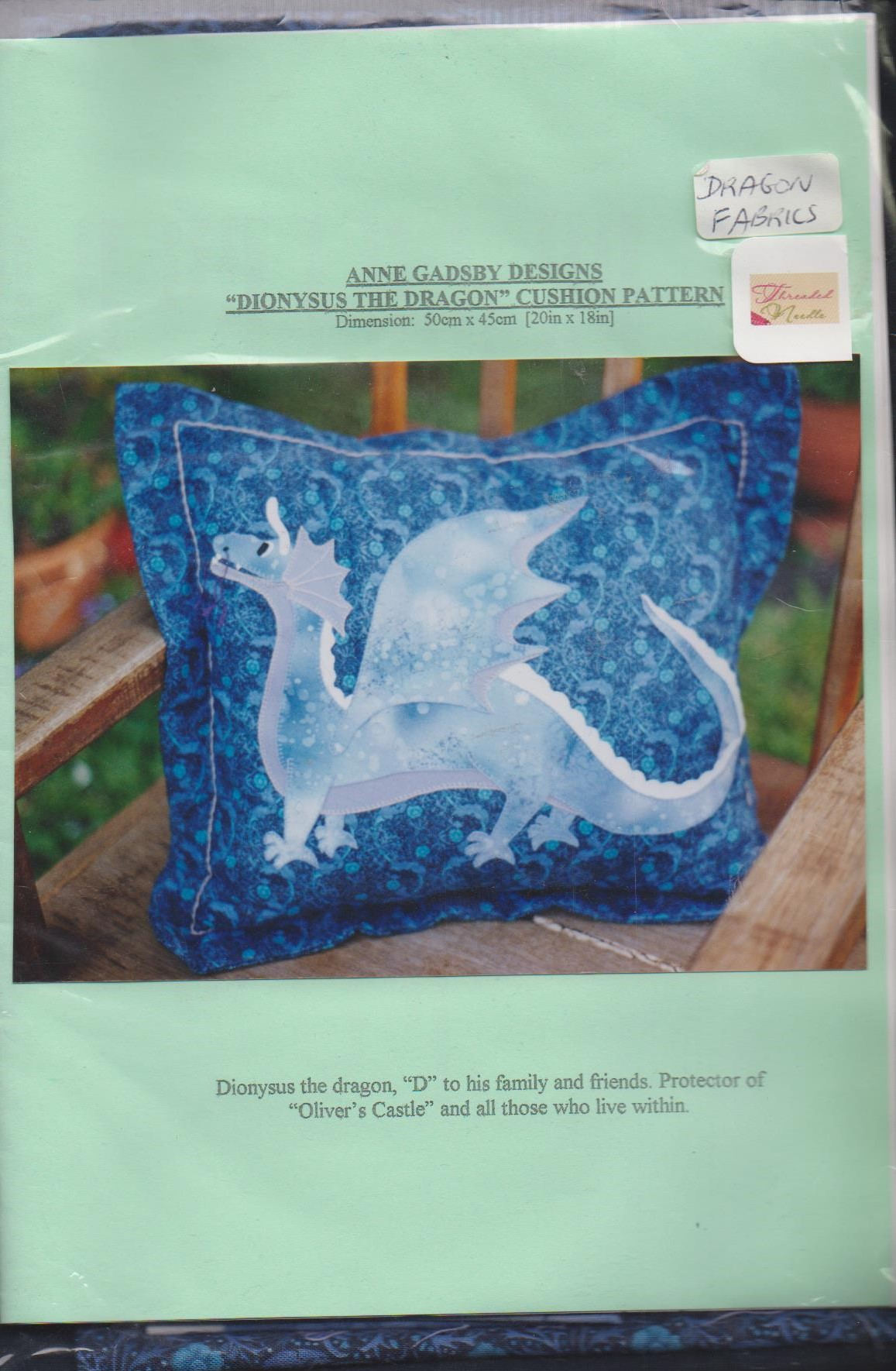 Dionysus the Dragon - Cushion Pattern with fabrics by Anne  Gadsby