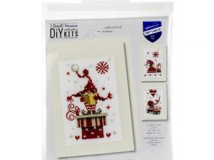 Christmas Gnomes Greeting  Cards Cross Stitch Kit by Vervaco VO165989