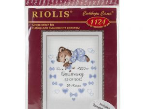 Boys Birth Announcement Cross Stitch Kit by Riolis RI1124