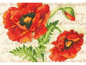 Poppy Pair Mini Cross Stitch Kit by Dimensions 70-65116