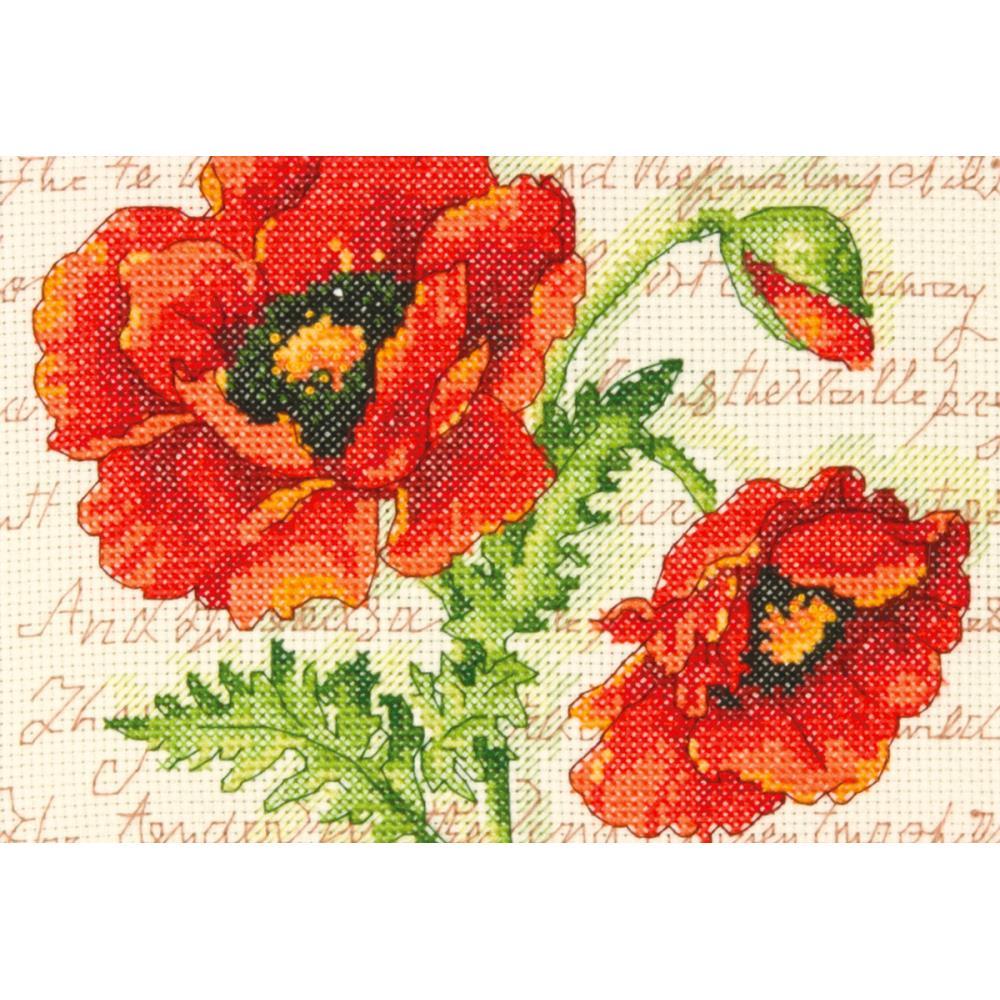 Poppy Pair Mini Cross Stitch Kit by Dimensions 70-65116