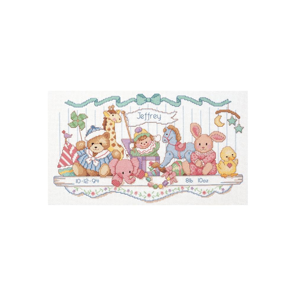 Toy Shelf Birth Record Cross Stitch Kit by Dimensions 3729