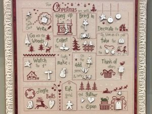 For Christmas We've To Cross Stitch Pattern by Jardin Prive includes Buttons