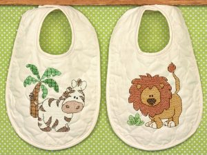 Kimba Baby Bibs Stamped Cross Stitch Kit from Dimensions 70-73881