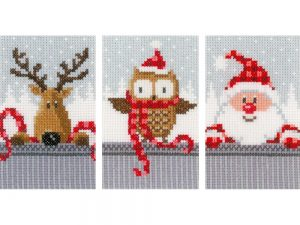 Buddies Christmas Cards Cross Stitch Kit by Vervaco VO149384