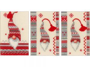 Gnomes Christmas Cards Cross Stitch Kit by Vervaco V0157032