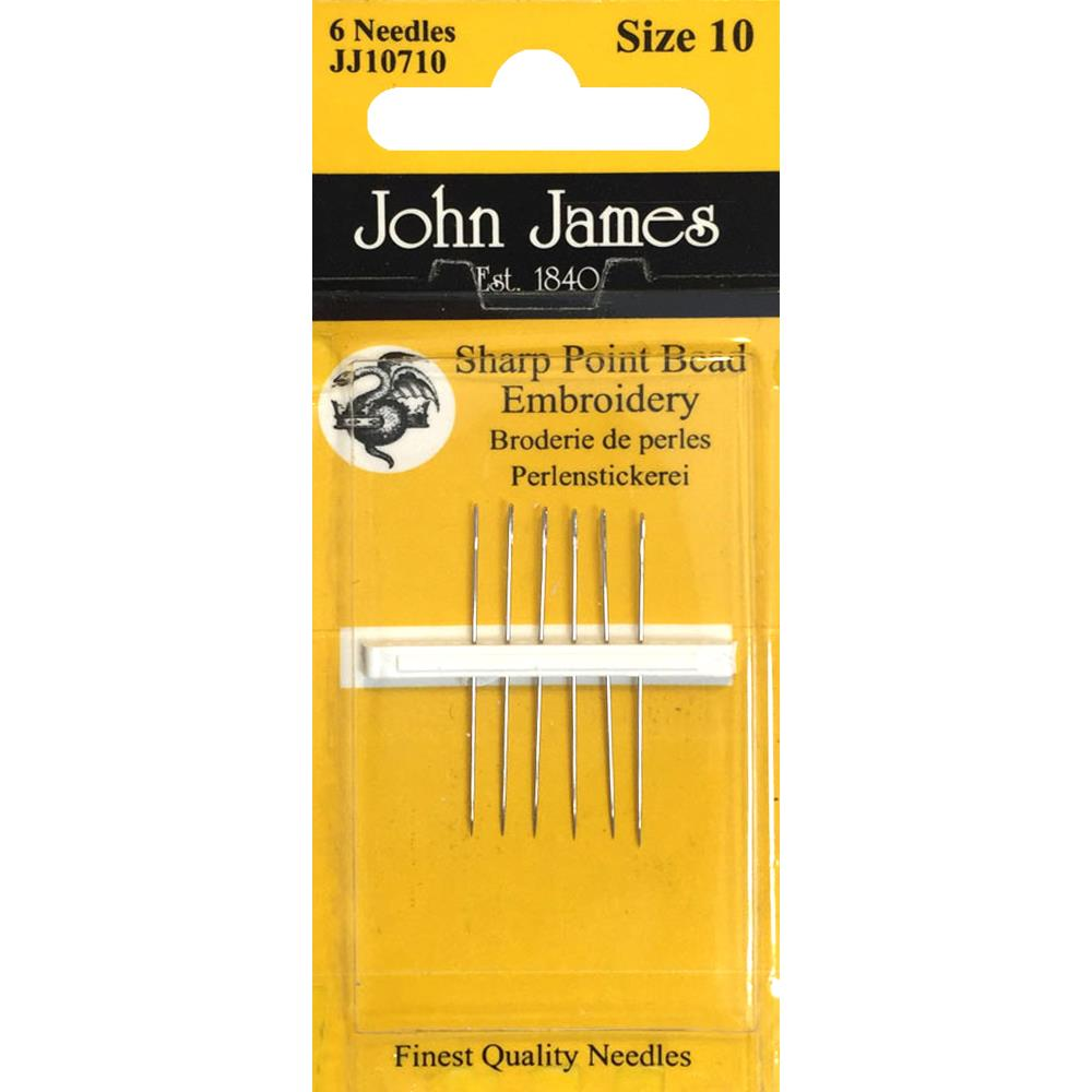 Sharp Point Bead Embroidery Needles Short Size 10 from John James