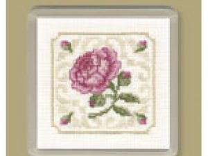 Damask Rose Coaster Cross Stitch Kit from Textile Heritage
