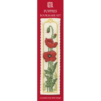 Poppies Bookmark Cross Stitch Kit from Textile Heritage