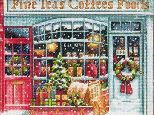 Coffee Shoppe Gold Petite Christmas Cross Stitch Kit by Dimensions K70-08973