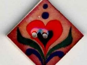 Red Heart Terracotta Button by Jim Shore