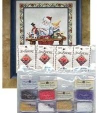 Santa's Workshop Cross Stitch Pattern with Embellishments by Jim Shore