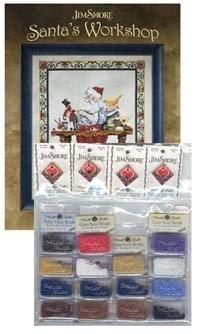 Santa's Workshop Cross Stitch Pattern with Embellishments by Jim Shore