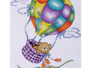 Up Up and Away Balloon Cat Birth Record Cross Stitch Kit from Tobin T21715