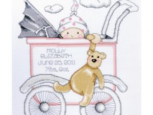 Girl Baby Buggy Birth Record Cross Stitch Kit by Tobin T21743