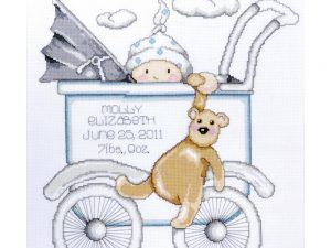 Boy Baby Buggy Birth Record Cross Stitch Kit by Tobin T21746