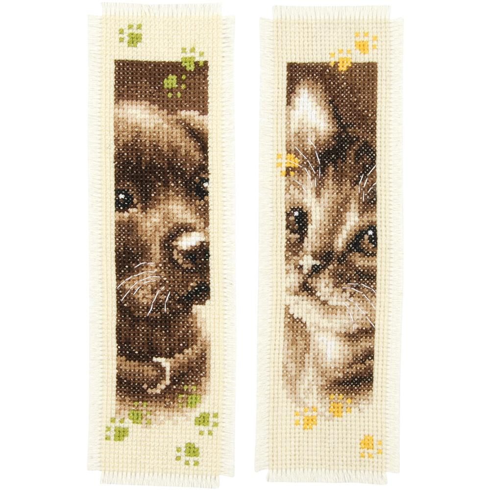 Cat and Dog Bookmarks Cross Stitch Kit by Vervaco PN-0155362